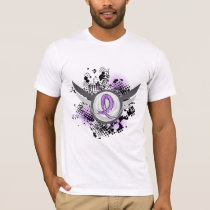 Lavender Ribbon Wings General Cancer T-Shirt