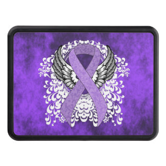 Lavender Ribbon with Wings Trailer Hitch Cover
