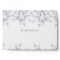 Lavender Romance Floral Wedding Envelope