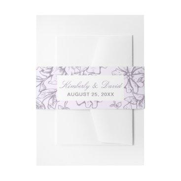 Lavender Romance Floral Wedding Invitations Invitation Belly Band
