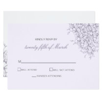 Lavender Romance Floral wedding invitations rsvp