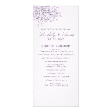 Lavender Romance Floral Wedding Programs
