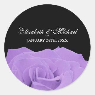 Lavender Rose and Black Wedding Favor Label Classic Round Sticker