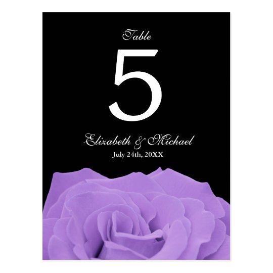 Lavender Rose and Black Wedding Table Number Postcard