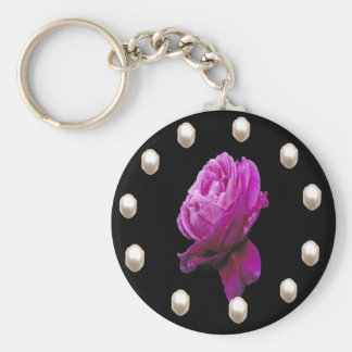 Lavender rose and  pearls, keychain