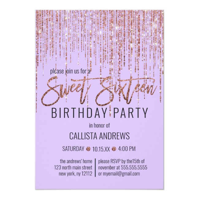 Lavender Rose Gold Glitter Fringe Curtain Sweet 16 Invitation