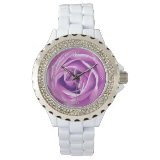 Lavender rose print wrist watch