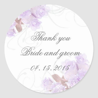 Lavender rose swirls wedding invitations classic round sticker