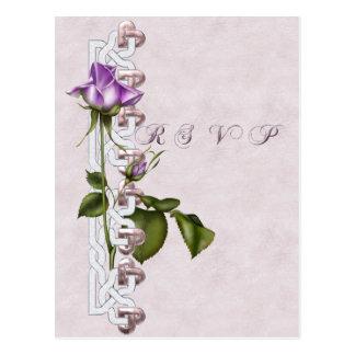 Lavender Rose Wedding Suite RSVP Post Card