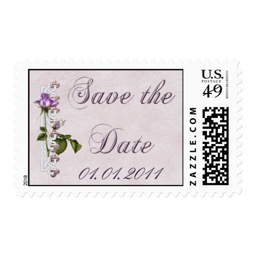 Lavender Rose Wedding Suite Save the Date Postage Stamps