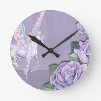 Lavender Roses For A Unicorn Round Clock