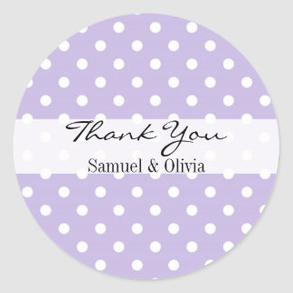 Lavender Round Custom Polka Dotted Thank You Classic Round Sticker