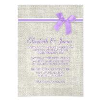 Lavender Rustic Burlap Wedding Invitations Card