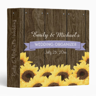 LAVENDER RUSTIC SUNFLOWER WEDDING ORGANIZER 3 RING BINDER