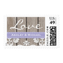 Lavender Rustic Wood Lace Love Wedding Postage