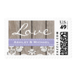 Lavender Rustic Wood Lace Love Wedding Stamps