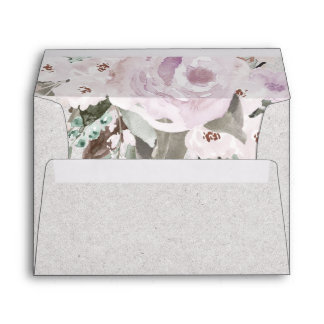 Lavender Sage Gray Green Floral Envelopes |