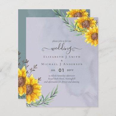 Lavender Sage Sunflowers Rustic Boho Wedding