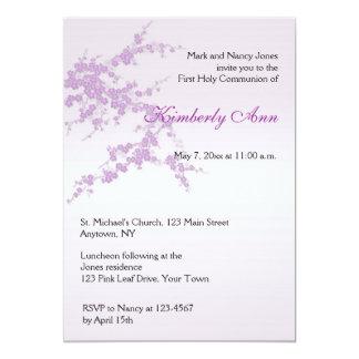 Lavender Sakura Communion Invitation