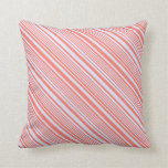 [ Thumbnail: Lavender & Salmon Lined Pattern Throw Pillow ]