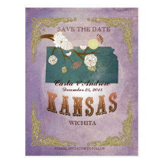 Lavender Save The Date - KS Map With Lovely Birds Postcard