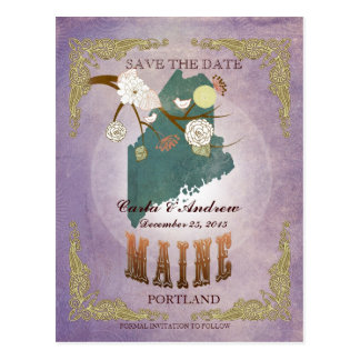 Lavender Save The Date - ME Map With Lovely Birds Postcard