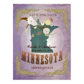 Lavender Save The Date - MN Map With Lovely Birds Postcard