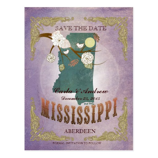 Lavender Save The Date - MS Map With Lovely Birds Post Cards