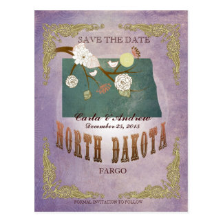 Lavender Save The Date - ND Map With Lovely Birds Postcard