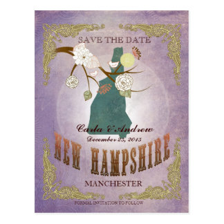 Lavender Save The Date- NH Map With Lovely Bird Postcard