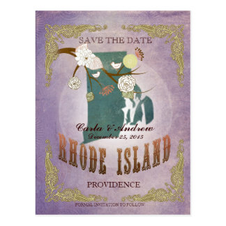 Lavender Save The Date - RI Map With Lovely Birds Postcard