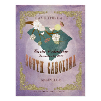 Lavender Save The Date- SC Map With Lovely Bird Postcard