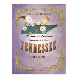 Lavender Save The Date - TN Map With Lovely Birds Post Cards