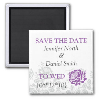 Lavender Save The Dates 2 Inch Square Magnet
