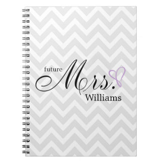 Lavender Scribbled Heart Future Mrs Wedding Notebook