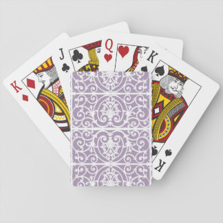Lavender scrollwork pattern playing cards