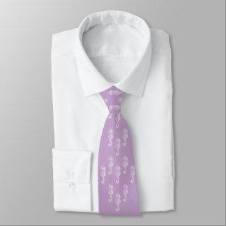 Lavender Seahorses Beach Wedding Necktie