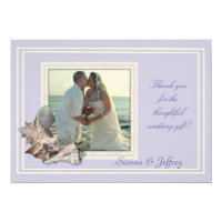Lavender Seashell Wedding Photo Thank You Card