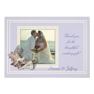 Lavender Seashell Wedding Photo Thank You Card