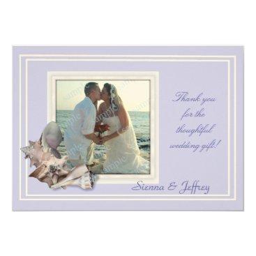 Beach Themed Lavender Seashell Wedding Photo Thank You Card