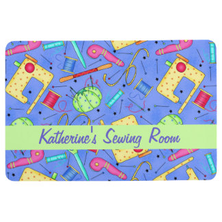 Lavender Sewing Room Name Personalized Notions Art Floor Mat