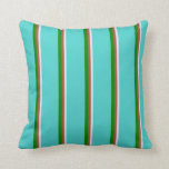[ Thumbnail: Lavender, Sienna, Green & Turquoise Lines Pillow ]