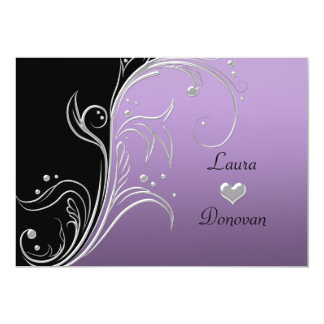 Lavender Silver Black Floral Swirls Reception Only 5x7 Paper Invitation Card
