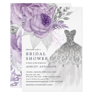 lavender Silver Floral Wedding Dress Bridal Shower Invitation