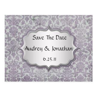 Lavender Silver Grunge Damask Save The Date Postcard