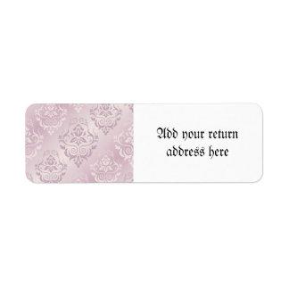 lavender,silver,silk,damask,pattern,chic,elegant,b return address label