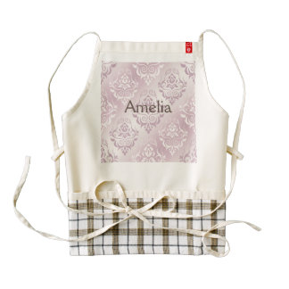 lavender,silver,silk,damask,pattern,chic,elegant,b zazzle HEART apron
