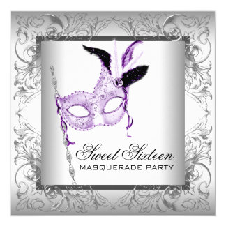 Lavender Silver Sweet 16 Masquerade Party Card
