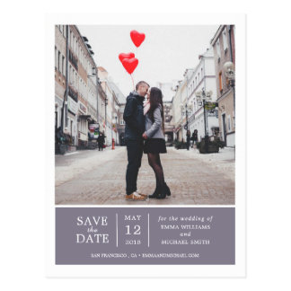 Lavender Simple & Modern Photo Save the Date Postcard