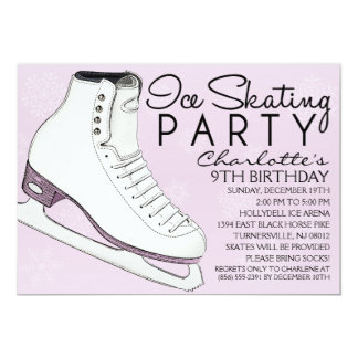 Lavender Skate Mates Ice Skating Birthday Party Card